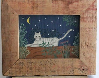 Vintage 90's Rustic Folk Art Cat Painting