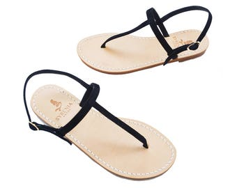 Leather Capri Sandals Black Suade -Flat Sandals -  Handmade in Italy