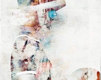 Portrait, Mädchen mit Hut, Fotografie, Kunstwerk, zeitgenössische Kunst, mixedmedia, abstrakt, bunt, wandbild, romantik, digitale kunst