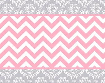 Silver Grey U0026 White Damask With Pink Chevron Plush Fuzzy Area Rug   Size  48x30,