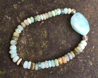 Peruvian Blue Opal Stretch Bracelet  // Boho Jewelry // Statement Jewelry   ///Something Blue  Wedding Jewelry