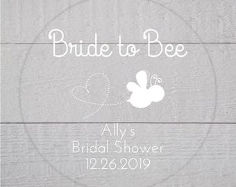 Bride to Bee Bridal Shower Labels, Clear Transparent Wedding Shower Stickers, Bridal Favor Stickers (#186-C-WT)