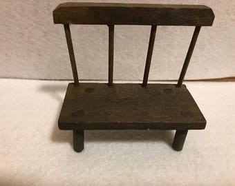 Wood Bench, Miniature Dollhouse