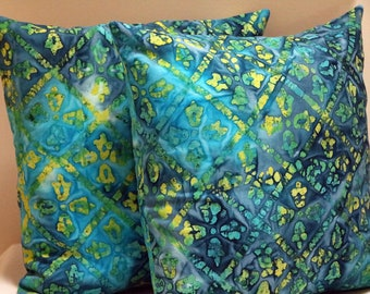 Cushion Cover, 18in Square Cushion Cover, Pillow Cover, Throw Pillow Cover, Multi Coloured, Batik Style Design, Outdoor Pillow Cover