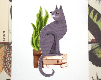 Books and Cats Illustration Print