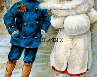 Antique Victorian Skaters Vintage Happy Holidays Vintage Christmas Image Download Printable