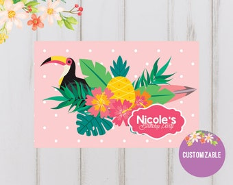 Printable Personalized paper placemat Hawaiian theme