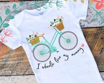 Wheelie Love My Mommy Onesies®, Baby Girl Wheelie Love Bike Onesie, Mother's Day Gift, Baby Girl Shirt, Bicycle Girl Onesie, Graphic Onesie