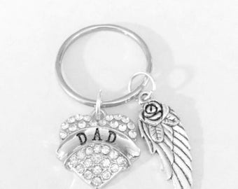 Dad Angel Gift, Guardian Angel Keychain, In Memory, Sympathy Gift Keychain