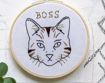 Cat Boss Embroidery Hoop Art. Modern Embroidery. Wall/Home/Boho Decor. Embroidery Art. Cat Embroidery. Art.