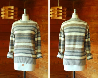 vintage neutral striped wool sweater / size medium large