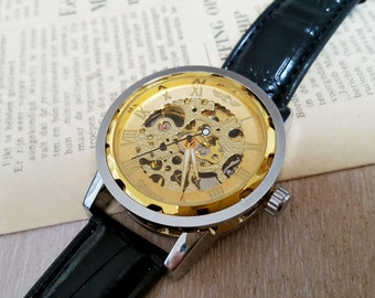 Vintage style Mechanical Skeleton Watch, Hand-winding Wrist Silver-Gold tone Mens Watch, Steampunk Watch
