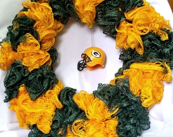 Green Bay Packers , NFL Football, Green and Gold, Wreath, Door Hanger, Wall Hanging, Decoration, Super Bowl Party, Housewarming Gift