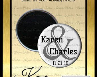 "Wedding Favors, 2.25"" Custom Wedding Magnet, Modern Design Wedding Favor, Custom Wedding Favors, Wedding Keepsake, Refrigerator Magnet,"