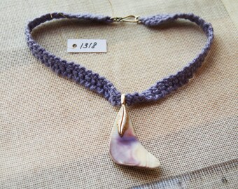 1318 Shell Necklace w/ Feather Bail