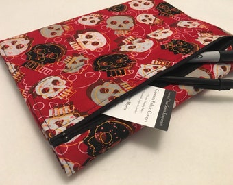 Composition Notebook Journal Cover, Red Skulls