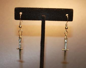 Dangle Earrings Gold Daggers