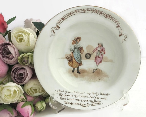 Antique Royal Doulton child's bowl, nursery rhyme series, My Pretty Maid, lovely illustration with all the words, larger size, 1902 - 1922