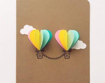 Couple Heart Hot Air Balloon Card (rainbow)