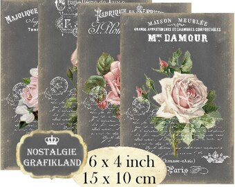 Chalkboard Roses French Flowers Vintage 6 x 4 inch Instant Download digital collage sheet D153