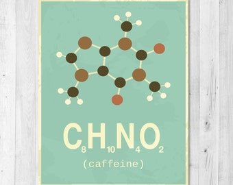 Instant Download Caffeine Molecule Science Print
