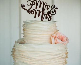 Mr and mrs wedding cake topper wedding cake decor monogram cake topper personalized topper initial cake topper mrc wood products