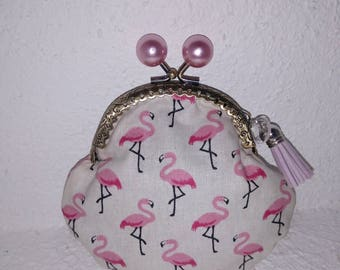 Wallet clasp beads retro pink flamingos