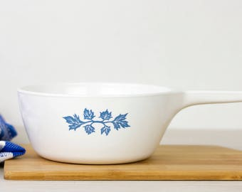 Pyroflam Pf-31 saucepan with blue leaf motif