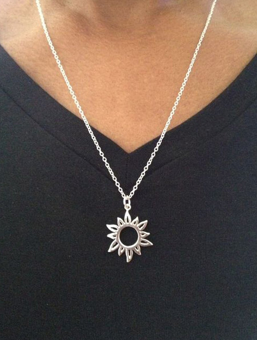 Sun necklace silver sun necklace hippie necklace sterling zoom aloadofball Gallery