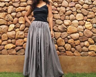 Sweet full maxi skirt Gray mix silk (one size fits S-L)1189