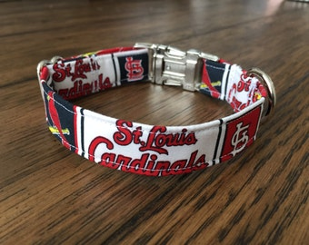 St. Louis Cardinals Dog Collar; Navy, Red, & White