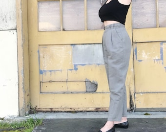 Pleated cotton trousers | pleated high waist trousers | olive gray pants | minimalist pants | 27 waist