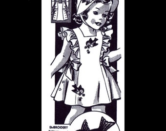 Summer Sunsuit Sundress Playsuit Dress Frock & Bonnet Fabric Sewing Pattern 40's Child Girls Toddler REPRODUCTION  #493 sz 4