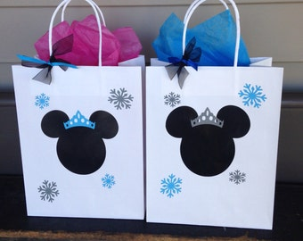 Minnie Mouse Inspired Party, Pink & Gold Minnie, Baby Shower, Minnie's Winter Onederland, Medium Gift bag, Sets 8 , 10, 12,15,and 25.