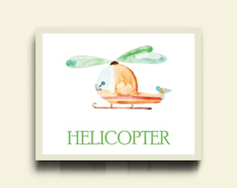 Helicopter Nursery Print / Boy Air Nursery Print / Transport Print / Helicopter Print / Watercolor Nursery Boy Poster / Helicopter Kid Print