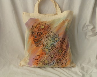 Cloth Grocery Bag, Reusable Market Tote, Eco Friendly Shopping Bag, Hand Painted, Tie Dye, Sugar Skull, Day of the Dead, Gym Bag, Beach Tote