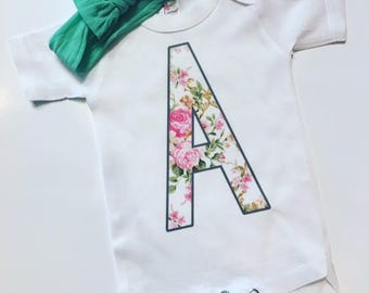 Personalized Floral Onesie
