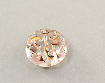 Clear Peach Gold Pressed Glass Coin Bead, 14mm Bead, One