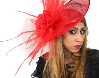 Magdalena Red Fascinator Hat for Weddings, Races, and Special Events With Headband
