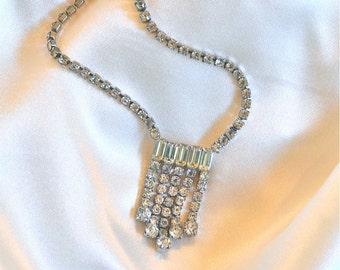 vintage art deco rhinestone waterfall necklace