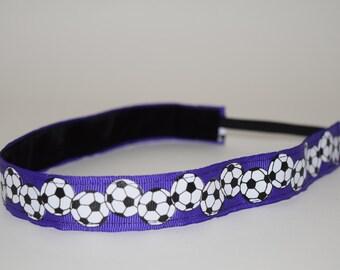 Purple Soccer Headband- Soccer Headband- Sport Headband= 7/8 inch headband- no slip headband- soccer-Purple Soccer