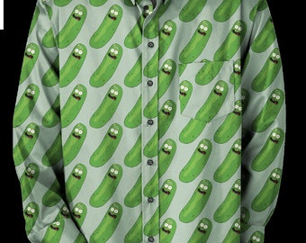Rick and Morty Pickle Rick Oxford Cotton button up / down dress shirt custom made to order.