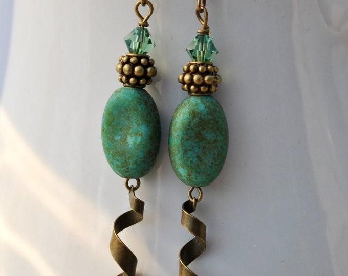 "Teal ""Stone"" Czech glass earrings with swirled brass dangles"
