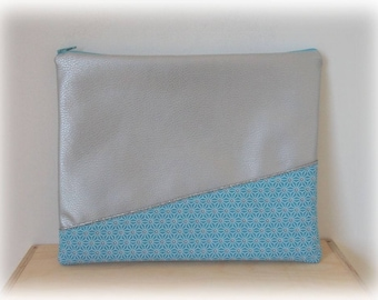 Cover for computer leatherette silver and cotton turquoise Japanese
