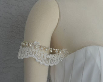 Detachable Off the Shoulder Beaded Lace Straps  to Add to your Wedding Dress it Can be Customize