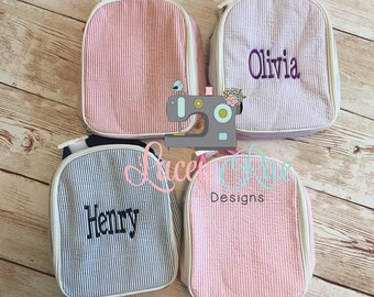 Seersucker Preschool lunchbox with handle, Pink, Blue, purple, mint, navy, Toddler backpack, Monogrammed lunch box,