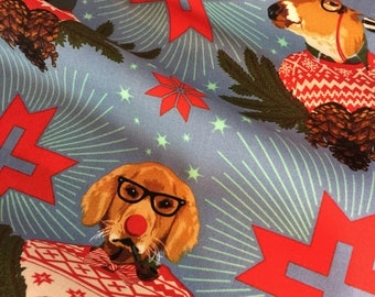 Tula Pink Fabric Holiday Homies Christmas Dog Goose Reindeer - Buck Buck Goose Blue PWTP 104 Ltd Edt 100 % Cotton -FQ or Yardage
