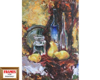Pears painting STILL LIFE Bottles painting Original artwork Bright colors art Kitchen decor IMPRESSIONISM art Oil on canvas by A. Onipchenko