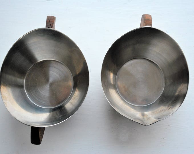 Danish Modern Lundtofte Stainless Steel & Teak Cream and Sugar Set Mid Century 1960s