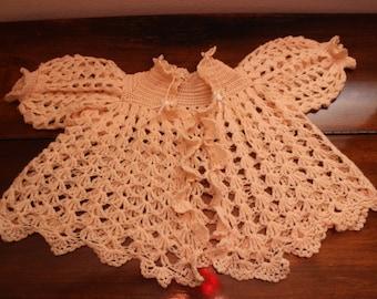 VTG 1950's Crocheted Peach Baby Sweater - SZ. 3M, 6M, 12M